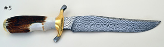 "200 layer laddered W pattern Damascus B6 Blade 1/4"" X 1 1/2"" x 8"" long, Handle 5"" long, Guard 3 1/2"" with damascus ends"