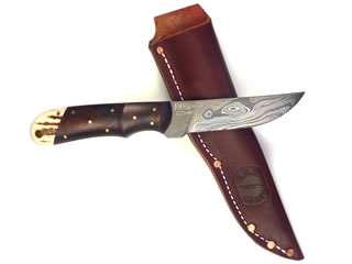 "Twist pattern 3 3/4"" long Damascus blade with Cocobolo and elk horn handle"