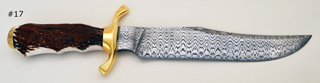 "201 layer laddered W pattern 9"" long Damascus blade and 3 1/2"" guard"